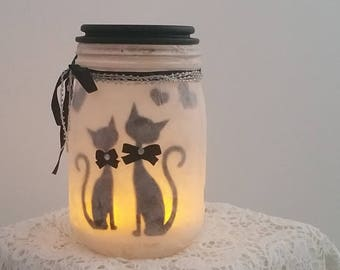 """Cats in love"" candle Lantern"