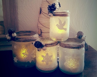 Set of ice candles snowflakes and Dove of peace