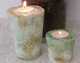 5 candle holders made of plaster paint and glitter
