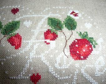 "handmade embroidery Crosstitch "" strawberries heart"" on linen canvas -"