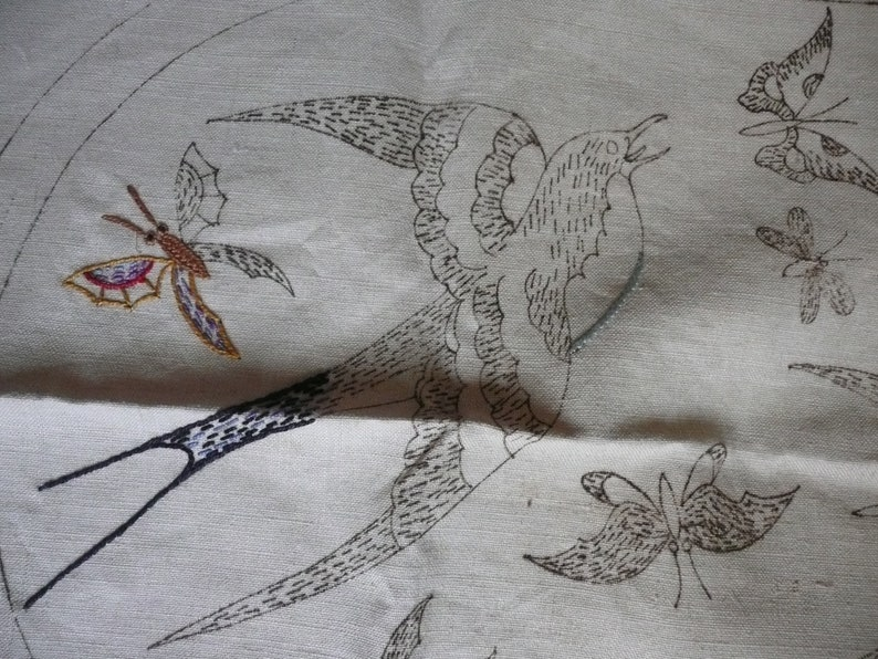 vintage french table center  piece to embroider patterns butterfly and swallow without wire