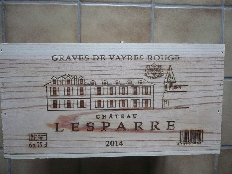 Screened wood wine case CHATEAU LESPARRE 2014 Graves de VAYRES Red empty wood crate France
