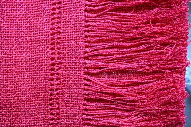 finest selection de2e6 6c32f Stola / Coprispalle rosso corallo in cotone tessuto al telaio