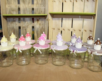 Recycled glass jars / cupcake candy jar
