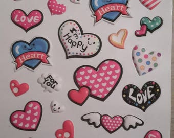 3D hearts stickers stickers