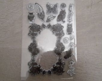 OWL stamp clear butterflies flowers leaves