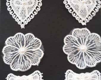 Flowers and hearts lace bow stickers
