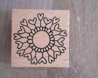 Flower hearts stamp