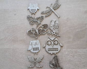 Mdf OWL figurines Butterfly dragonfly