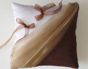 Chocolate/beige ring bearer pillow