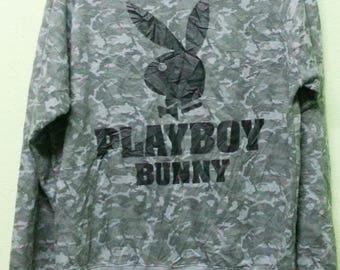 2995a01882b61 Rare Vintage Playboy Bunny Big Logo 90 s Camouflage Sweatshirt Size M