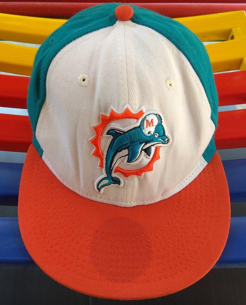 37b5f8b0 Vintage Miami Dolphins NFL New Era Snapback Hat Cap Baseball Adjustable  Orange Straps