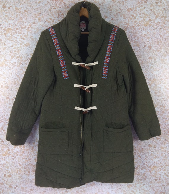 Vintage TITICACA Hooded Jacket  Style Military Gre