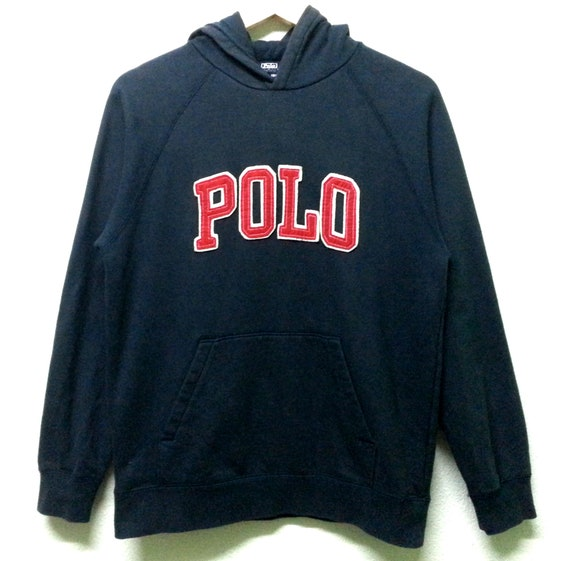 Vintage Polo von Ralph Lauren Hoodie Sweatshirt großes Logo buchstabieren Sportwear Hip Hop