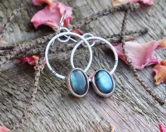 Handmade silver earrings with Labradorite