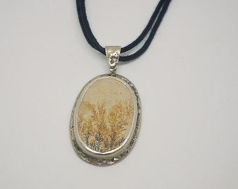Handmade silver pendant with Dendritic limestone