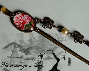 "Cabochon ""bronze""metal hair jewelry hair pins"
