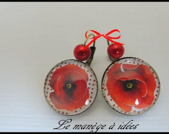 Dormeuse earrings, Pretty Poppies, Romantic.