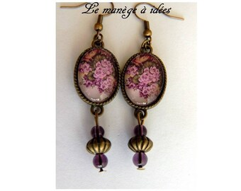 Earrings / dangling / cabochon, bronze, violet, romantic fine.