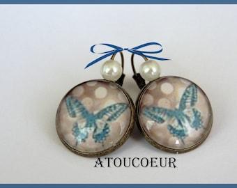 Earrings / brass, glass Cabochon Stud Earrings/Metal / my Butterfly / Vintage/romantic.
