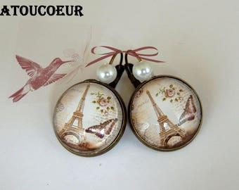 Earrings / Stud Earrings/Cabochon/Metal Bronze, Paris Eiffel Tower, Vintage