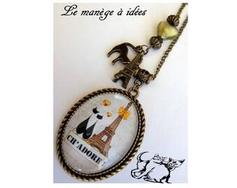 """""""Necklace, pendant, Cabochon, Metal Bronze Ch' love"""" romantic."""