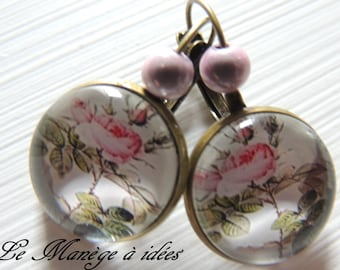 Earrings / Stud Earrings/Metal Bronze, Cabochon, English Roses, Shabby, romantic.
