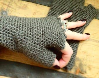 Color mink made scalloped edge hand crocheted fingerless gloves