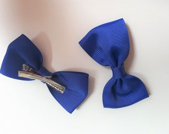 Duo de barrettes nœuds bleu électrique - pinces crocodiles 95442d92926