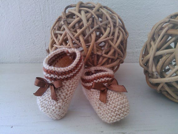 Petits Petons naissance beiges   marron réhaussés de rayures   Etsy 3a7fae02d8a