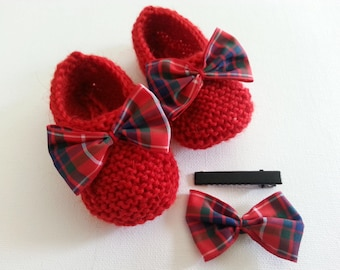 Little red toes wool brightened with a plaid bow and hair