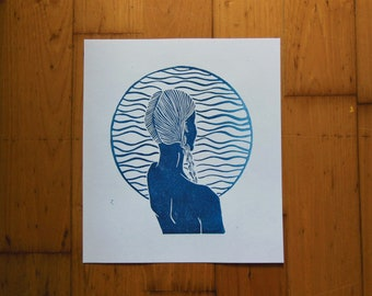 Linocut limited edition ocean woman