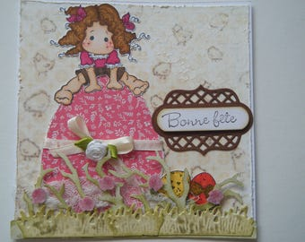 Easter card with a little girl jumping over an egg