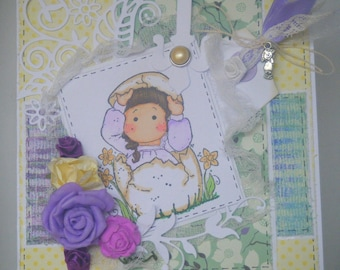 Easter shabby flower with a cute character card