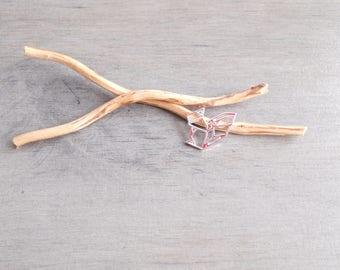 Silver origami squirrel pendant