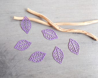 Set of 6 prints lilac filigree leaves