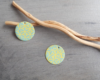 Set of 4 light teal and yellow sequins