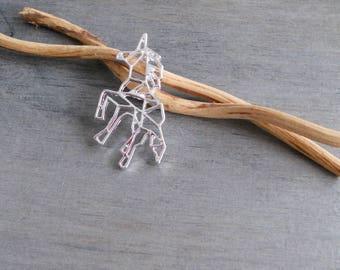 Silver origami Unicorn pendant