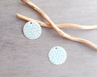Set of 4 light turquoise and ivory sequins