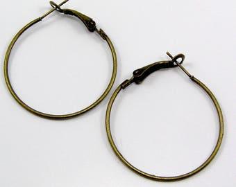 Earrings Creole rings bronze antique diameter 35mm set of 4