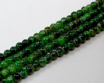 Set of 25 beads 4 mm glass green marbe color effect