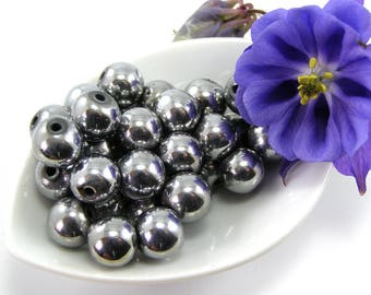 Beads magnetic Hematite round 10 mm Silver set of 5