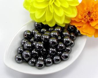 General Hematite round 8 mm set of 20 beads
