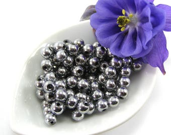 Silver set 6 mm round magnetic Hematite beads of 5