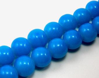 Set of 10 beads 10 mm turquoise shiny glass