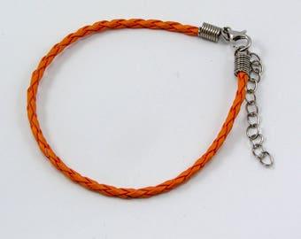 Set of 2 bracelets leather 200 x 3mm color orange