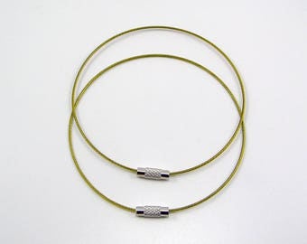 Set of 2 bracelets cable stiff diameter 68 mm khaki yellow