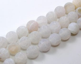 Pearl agate eflorescence 8 mm white set of 5