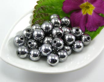 Beads round magnetic Hematite 8 mm Silver set of 5