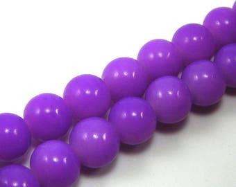Set of 10 beads 10 mm purple shiny glass